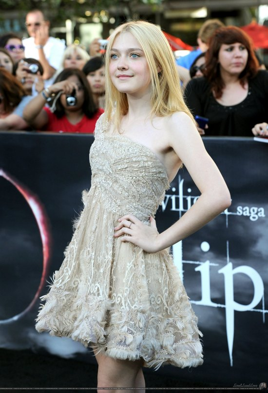 Hmmm, a fitted bodice and short, flared skirt, where have we seen this style before? Oh yeah, Dakota Fanning has worked this look to death. But hey, the Elie Saab frock with Louboutins is still adorable and age-appropriate, so we'll take this any day over the Taylor Momsens of the world.