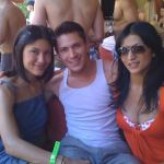Julia, Alex and Tinsel hanging poolside in Vegas!
