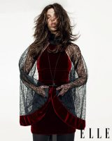 Velvet dress with lace cape, Alexander Wang, $825, at Barneys New York. Gunmetal necklace, Chris Habana, $200. White gold spider crab bracelet with white and silver diamonds, Stephen Webster, price upon request. Tights, Falke, $59. Photo: Mark Pillai; styled by Kate Lanphear
