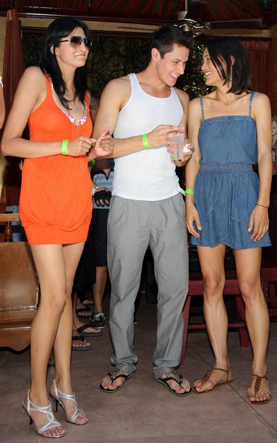 Tinsel Korey, Alex Meraz and Julia Jones at TAO Beach